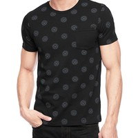 True Religion Hand Picked Buttons Everywhere Pocket Mens T-shirt - Black