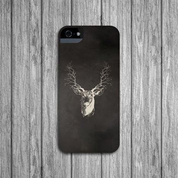 Deer iPhone 5 Case, Branch Antlers iPhone 4, Stag Cell Phone Cover, Woodland Samsung Galaxy S3 S4, Mens iPhone 5 Case