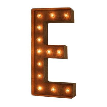 "24"" Letter E Lighted Vintage Marquee Letters (Modern Font/Rustic)"