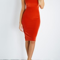 Exclusive Velvet Dress - Rust