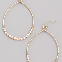 Odessa Bead Hoop Earrings - White