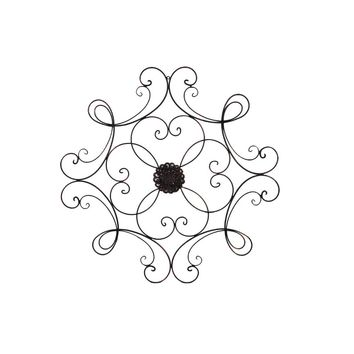 Benzara Square Scrolled Metal Wall Medallion for Indoor and Outdoor, Bronze