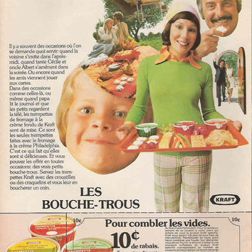 Kitsch 70's Québec Kraft Advertisement French Advertisement Funny Wall Decor French Ephemera Vintage Picnic Country Decor Vintage Kitchen