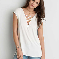 AEO Soft & Sexy Double Bar Jegging Top , Chalk