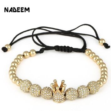 NADEEM Fashion Zircon Men's Bracelets Jewelry Cubic Micro Pave CZ Crown & 8mm Copper Ball Charm Bead Braided Macrame Bracelet