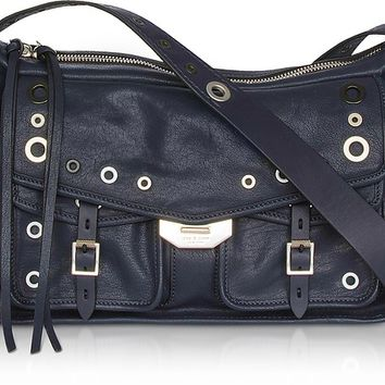 Rag & Bone Navy Blue Leather Grommet Field Messenger Bag