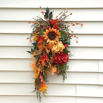 Fall sunflower swag, Fall door swags, Sunflower wreath, teardrop swags, hydrangea swag, Autumn swags, vertical swags, farmhouse swag, rustic