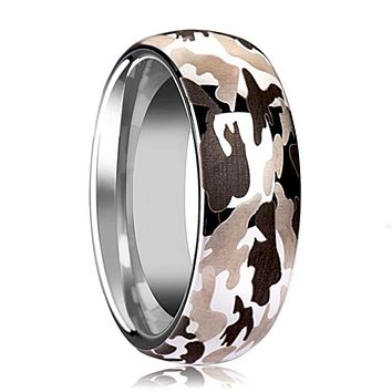 Tungsten Camo Ring - Black and Gray Camo  - Tungsten Wedding Band - Domed - Polished Finish - 6mm - 8mm - 10mm - Tungsten Wedding Ring