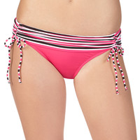 Striped Top Coral Swim Bottoms With Ties - Coral