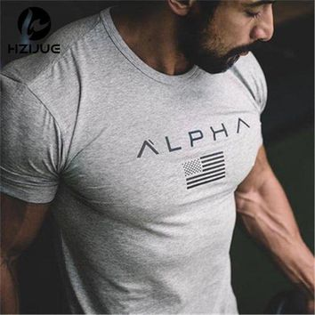 DCCKL8A 2017 New Brand clothing Gyms Tight t-shirt mens fitness t-shirt homme Gyms t shirt men fitness crossfit Summer top