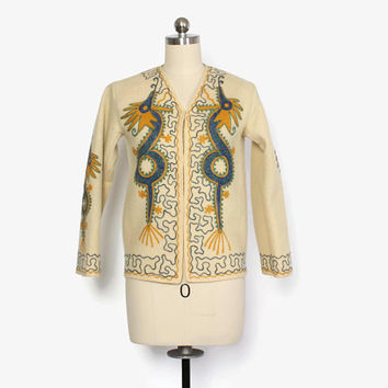 Vintage 40s Embroidered Dragon Jacket / 1940s Ivory Boiled Wool Jacket