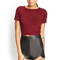 FOREVER 21 Mock Tulip Faux Leather Shorts Black