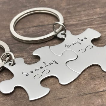 Someday Maybe Forever, Infinity Keychains, Couples Keychains, Puzzle Keychains , Anniversary Gift