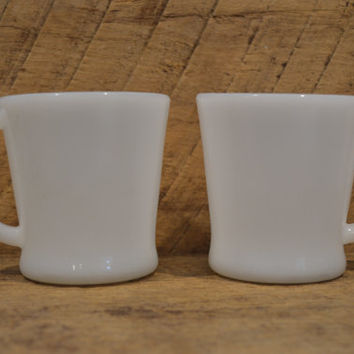 White Fire King Mugs Set of Two , D Handle Fire King, Fire King Coffee Mugs, Vintage Milk Glass, Vintage Fire King, Vintage White Fire King