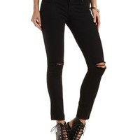 "Refuge ""Hi-Waist Super Skinny"" Slashed Black Jeans - Black"