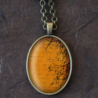 Tree Branches Necklace, Burnt Orange Pendant, Nature Jewelry, Gift for Her (1574B)