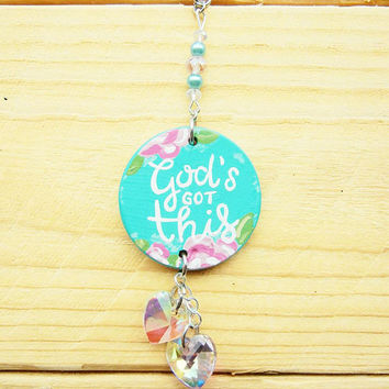 God's Got This Aqua and Pink Car Accessory: Car Decor for Girls, Car Quote Charm, Inspirational Quote Sign, Car Mirror Charm, Car Crystal