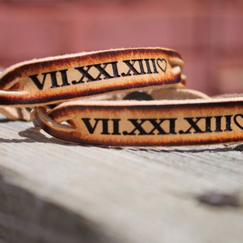 Custom Engraved Braided Leather Bracelet SET of TWO- Roman Numeral  Anniversary Date Shown