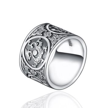 999 Sterling Silver Vintage Men Rings 4 Creatures Dragon Tiger Bird Turtle Chinese Traditional Culture Pure Silver Jewelry