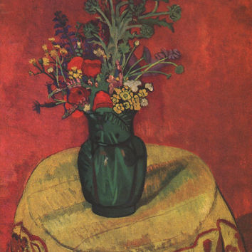 Fleurs rouges sur fond rouge, French Artists, Flower Paintings, Suzanne Valadon, Flower Art, French Vintage Prints,  Ready to Frame Prints,