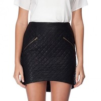 Quilted Faux Leather Skirt With Curved Hem