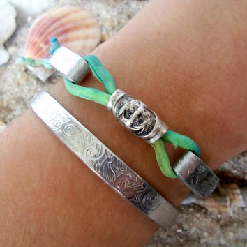 Anchor Jewelry, Cuff Bracelet, I Refuse to Sink Quote, Hand Dyed Silk Ribbon, Recycled Silver, Eco Friendly, Customizable