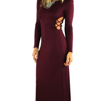 Cut Out Sides Long Sleeve Maxi Dress - Wine
