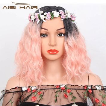 "I's a wig 14"" Long Ombre Orange Red Blue Pink Wig Synthetic aisi Short Hair for Women's  Wigs Water Wave High Temperature Fiber"