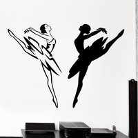 Wall Vinyl Decal Balerine Dancing Black And White Home Interior Decor Unique Gift z4132