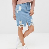 Missguided Highwaisted Destroyed Hem Denim Skirt at asos.com