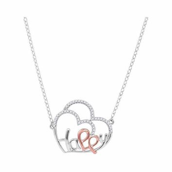 10kt White Gold Women's Round Diamond Heart Happy Pendant Necklace 1-8 Cttw - FREE Shipping (US/CAN)