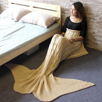 Creative Knitted Mermaid Tail Blanket Handmade Crochet Mermaid Striped Blanket Fashion Acrylic Material Soft Sofa Blanket