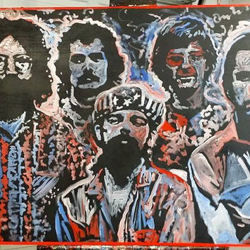 Pop Art Painting Large Grateful Dead Wall Art Wall Hanging Wall Decor 40x30 Jerry Garcia Rock Art Rock and Roll Art Red White Blue Art