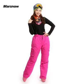 New Arrival Marsnow Brand Lady Outdoor Sport Waterproof Thick Ski Pants Women High Quality Snowboard Winter Hiking Snow Trousers