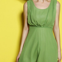 Green Ruched Cut-Out Back Sleeveless Mini Dress