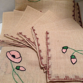 Table Cloth And Napkins Embroidered Card Table Size Poppies And Bees Vintage