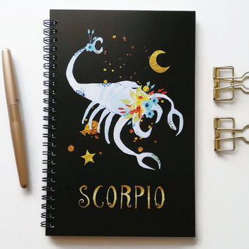 Writing journal, spiral notebook, bullet journal, black sketchbook, cute notebook, blank lined grid, zodiac sign, astrology - Scorpio