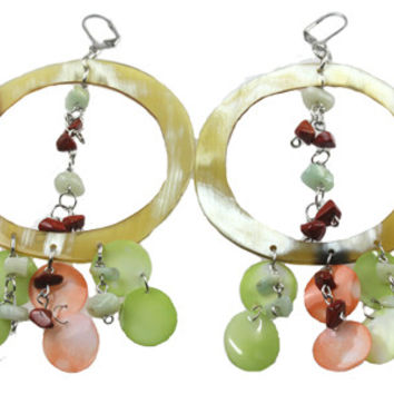 Horn earring combined with coral and green quartz scales. NS-114