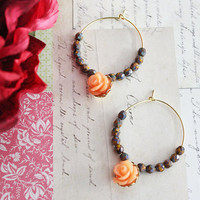 Autumn Girl Tangerine Rose Flower Hoops Earrings. Orange Rose Flower. Opaque Yellow Picasso. Bohemian. Bridesmaids. Boho Chic. Fall Fashion.
