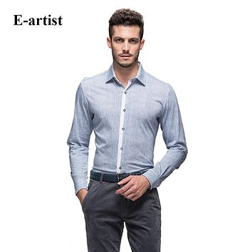 Men's Slim Fit Casual Turn-down Collar Long Sleeve Double Mercerized Cotton Button Down Shirts Spring