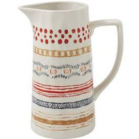 Multi-Stripe Stoneware Pitcher