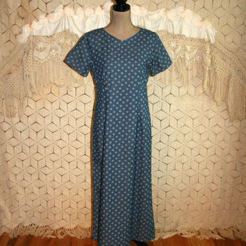 Cotton Maxi Dress Blue Floral Short Sleeve Casual Long Summer Dress High Waist Country Boho Liz Claiborne Size 8 Dress Medium Women Clothing