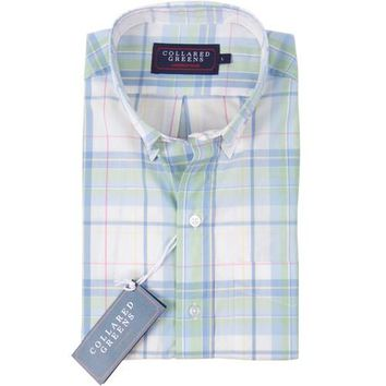 The Laurel Button Down Shirt Green/Blue