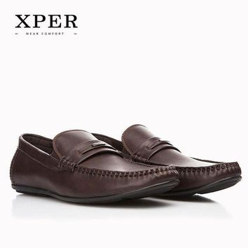 ONETOW Men Shoes Hand Made Breathable Soft Men Flats Shoes Slip-on Buckle Men Loafers Brown B