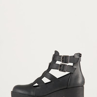 Buckled Cut Out Platform Booties - 8.5
