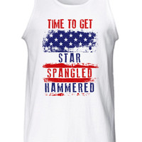 Time To Get Star Spangled Hammered Tank Top 4th of July Fourth America workout American Merica Patriotic Mens Womens Summer Gift MLG-1036
