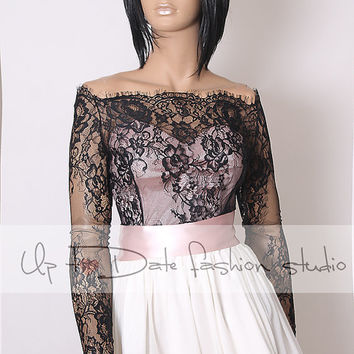 Off-Shoulder  black wedding bolero/ French Chantilly Lace style /bridal shrug /jacket long sleeve