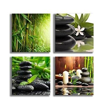 Paintings Bamboo Green Pictures with Zen Stone Candles Flower Print on Canvas Wall Art for Home Decoration Bathroom Living Room