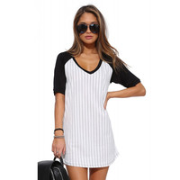 Pinstripe Baseball TShirt Dress