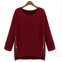 Women Casual Long Sleeve Knitting Sweater Pullover Tops Loose Style Plus Size 2 Colors Hot Sell = 1667441476